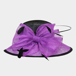 Floral Feather Church Hat Two Tone Sinamay
